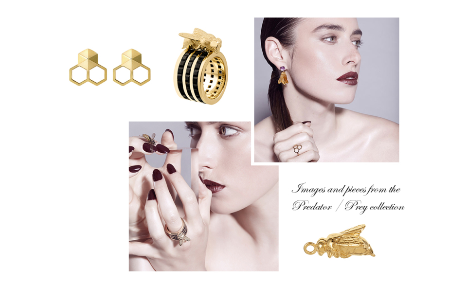 gold honeycomb earrings, gold bee cocktail ring, gold bee charm