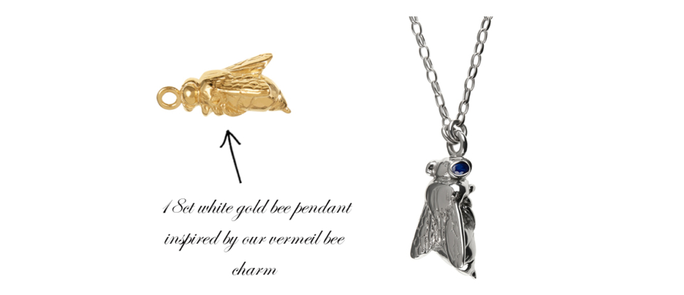 yellow gold bee charm and white gold bee necklace