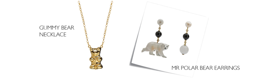 gold gummy bear necklace, porcelain polar bear earrings