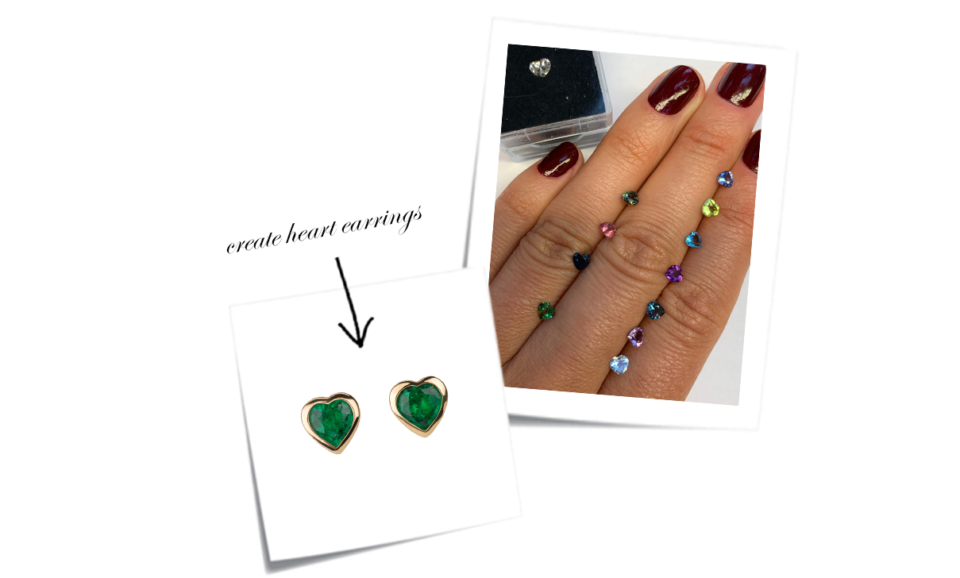 multi coloured heart gem stones