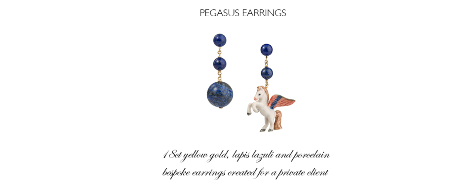 lapus lazuli and porcelain unicorn earrings