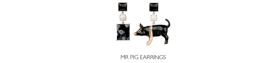bespoke porcelain and onyx pig earrings