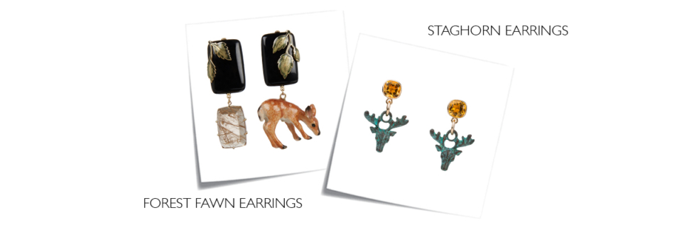 fawn earrings, stag earrings