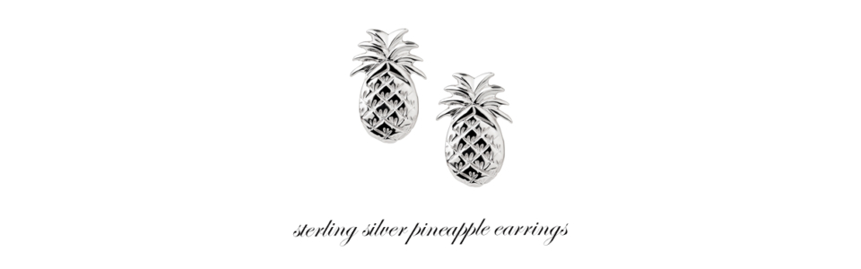 sterling silver pineapple earring studs