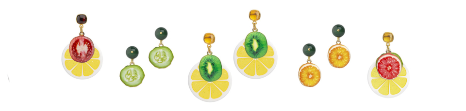 resin tomato slice and lemon slice earring, resin cucumber earrings, resin kiwi slice and lemon since earrings, resin orange slice earrings, resin grapefruit slice, kiwi slice and lemon slice earrings