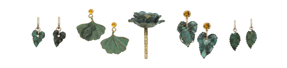 collection of verdigris jewellery