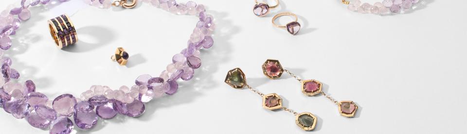 purple bead necklace, triple row eternity ring, large watermelon tourmaline statement earrings, purple stacking rings