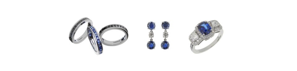 collection of sapphire jewellery