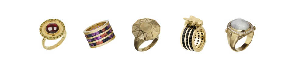 collection of large gold cocktail rings