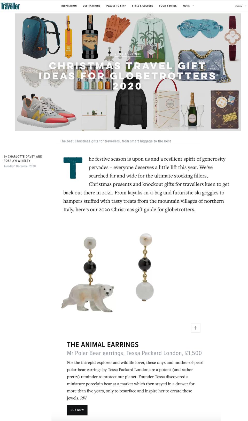 Tessa Packard London Jewellery in Conde Nast Traveller