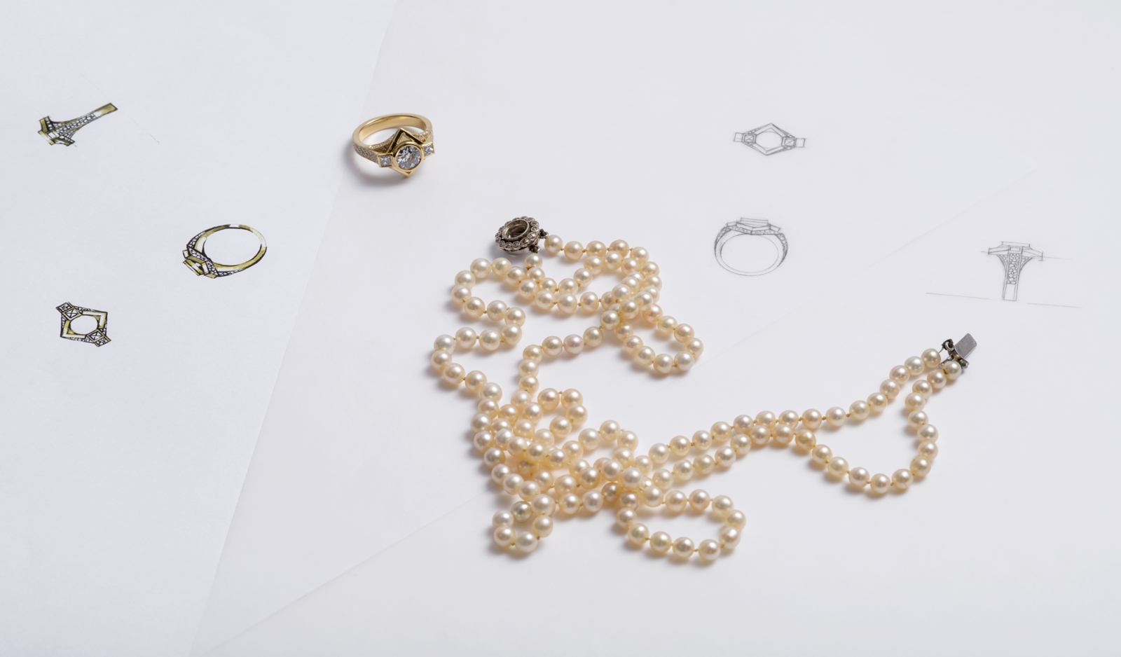 bespoke engagement ringing pearl necklace