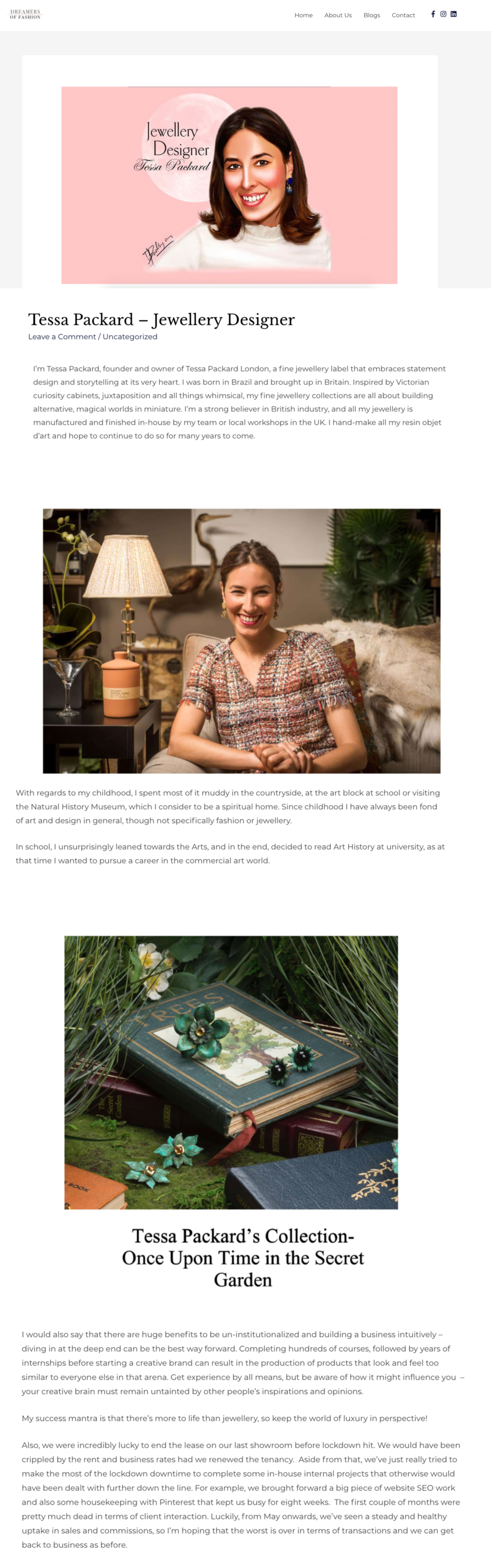 Tessa Packard London featured on Dreamers of Fashion Online