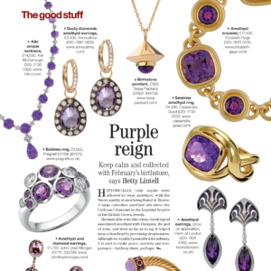 Amethyst birthstone pendant featured in Country Life Magazine