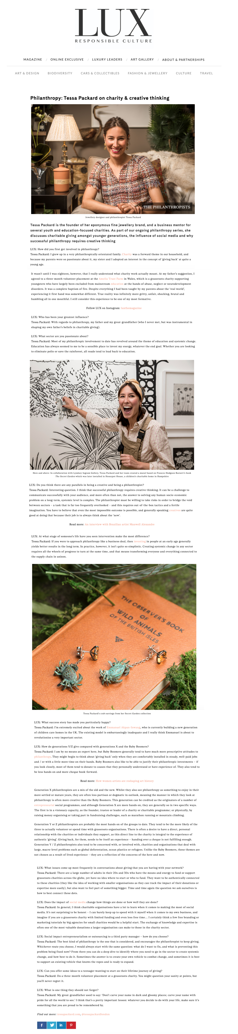 Tessa Packard Interviewed by Lux Magazine