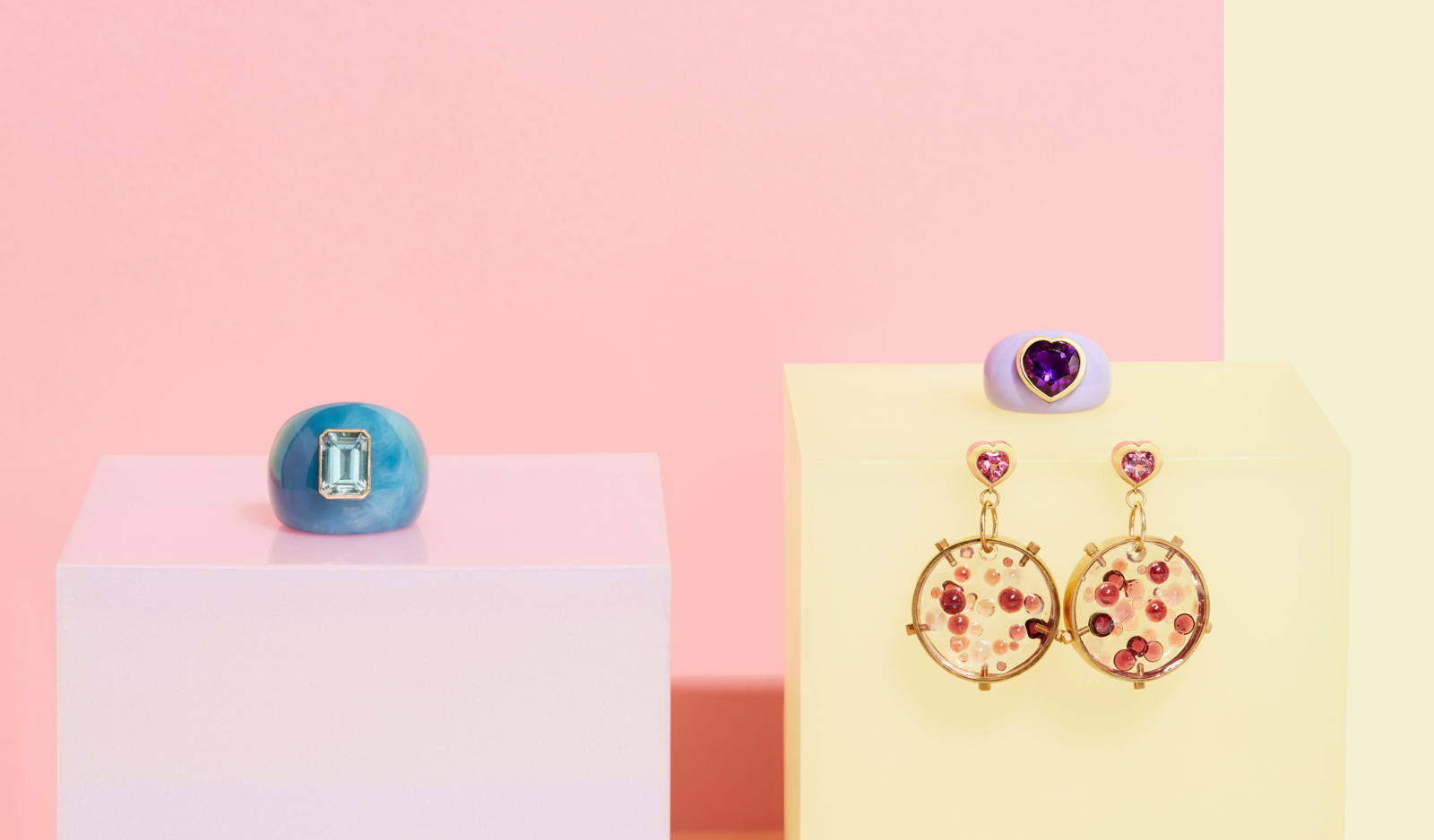 vintage lucite gemstone rings by tessa packard