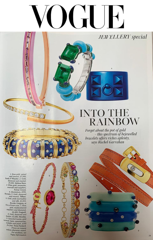 british vogue blue bangles lucite gemstone tessa packard