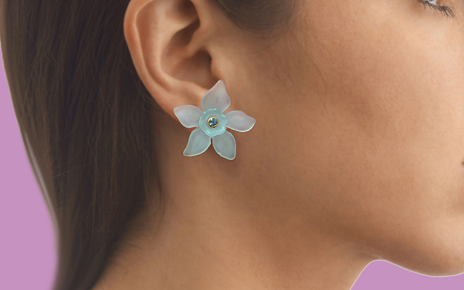 colourful flower floral stud earrings with gemstone centres by tessa packard