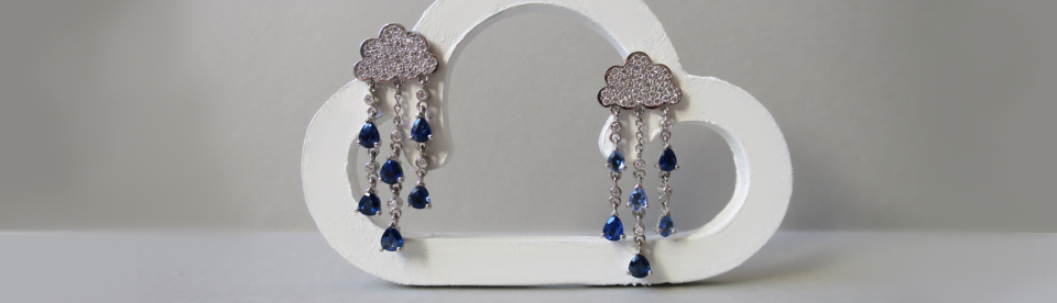 white gold diamond and blue sapphire thundercloud earrings by tessa packard