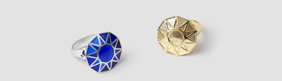 blue enamel gemstone cocktail ring by tessa packard