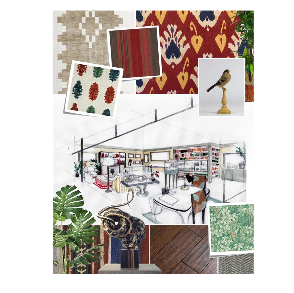 mood board interior design tessa packard showroom